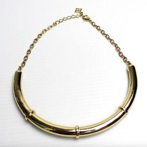 BCBG Gold Short Metal Collar Statement Necklace